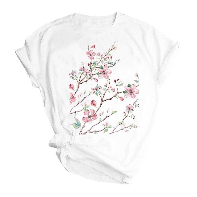 Woman Butterfly Tree Print Harajuku Summer Tshirts Casual Round Neck Short Slee Top Tee Shirt,Drop Ship 1