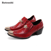 цена на Batzuzhi 6.5cm High Heel Leather Shoes Men Formal Business Dress Shoes Vintage Metal Pointed Toe Red Wedding and Party Shoes Men