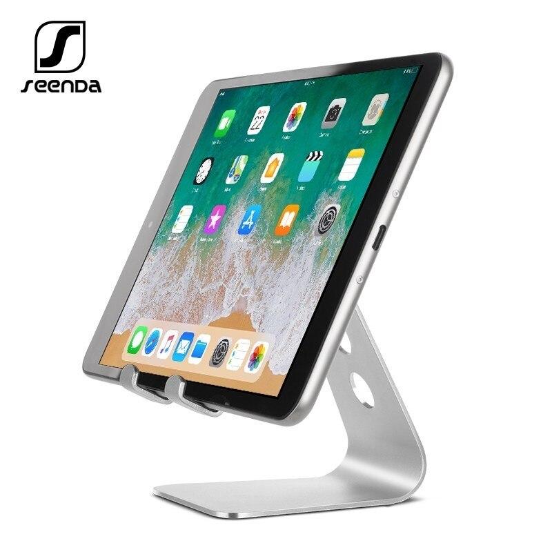 SeenDa uniwersalny aluminiowy stojak uchwyt biurkowy do telefonu komórkowego Xiaomi uchwyt na iPhone metalowe tablety stojak na ipad czarny piątek