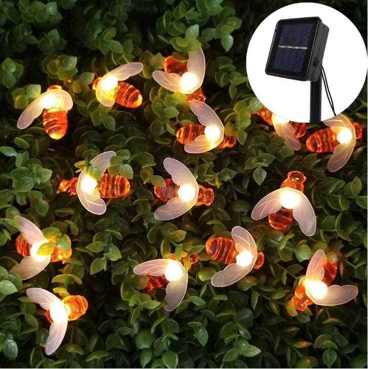 LED Solar Powered Garden Fairy Lights Honey Bee 20LEDS 30LEDS For Outdoor Christmas