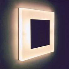 Nova escada 3w lâmpada de parede acrílica quadrada, luminária embutida, pé, luz noturna para áreas internas, luz de brilho, moderna arandela de led