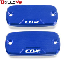 Motorcycle CNC Aluminum 1 Pair Power-Part-Front Brake Reservoir Cover part For Honda CB 400 2004-2012