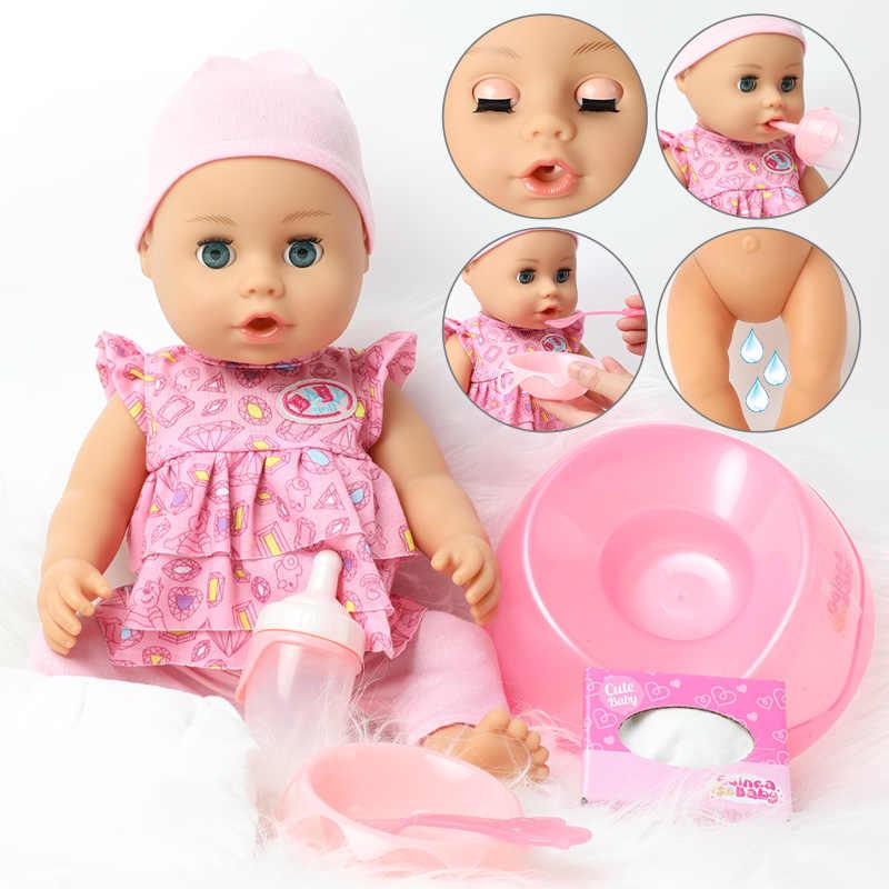 46 ซม.จำลองBebe Rebornตุ๊กตาเครื่องดื่มน้ำ 18 นิ้วแฟชั่นที่สมจริงซิลิโคนเด็กชุดตุ๊กตาBonecaสำหรับของเล่นเด็ก