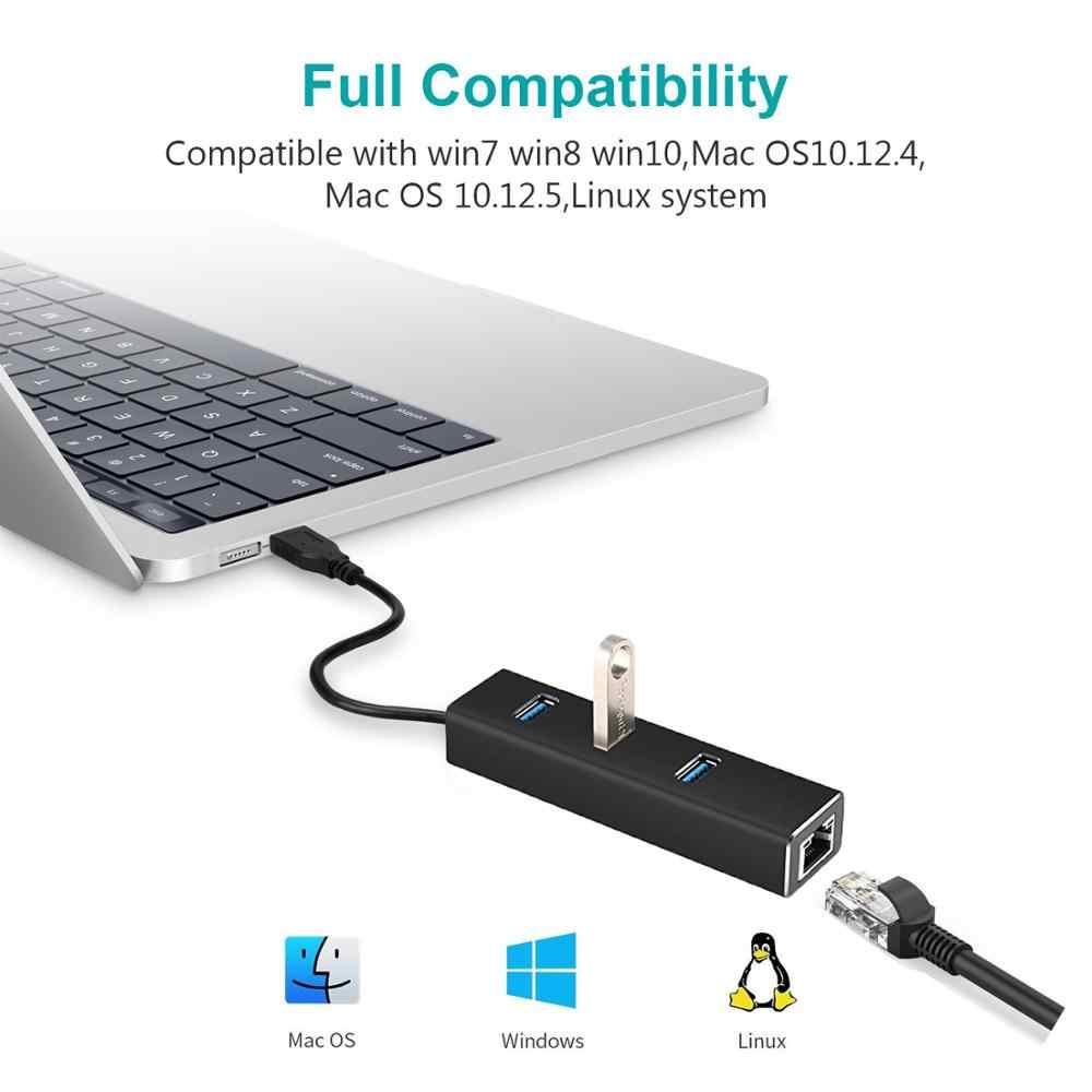 USB Gigabit Ethernet Adapter 3 Cổng USB 3.0 USB để Rj45 Lan Mạng cho Macbook Mac Để Bàn + dây Cáp Sạc Micro USB