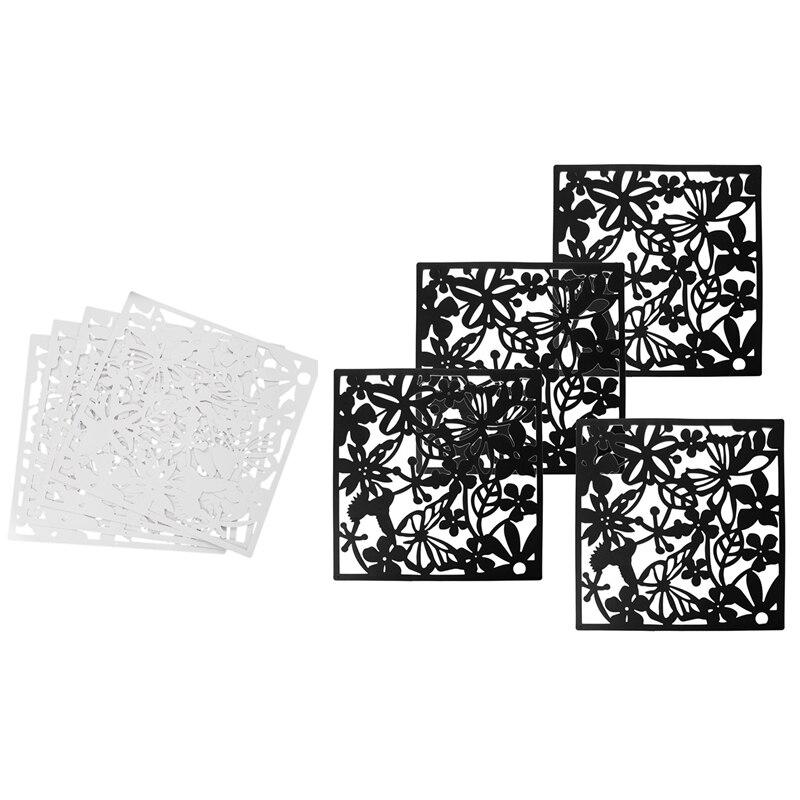 8 peças 40X40Cm Pendurado Sn Painel Divisor De Quarto Cortina Divisória Decoração de Casa: 4 peças de Polietileno Branco & 4 Peças Borboleta