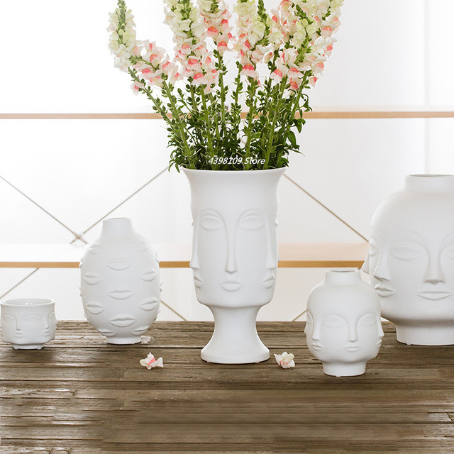 Scandinavian white ceramic vase decoration home decoration crafts modern interior decoration countertop vase art face shape vase 5
