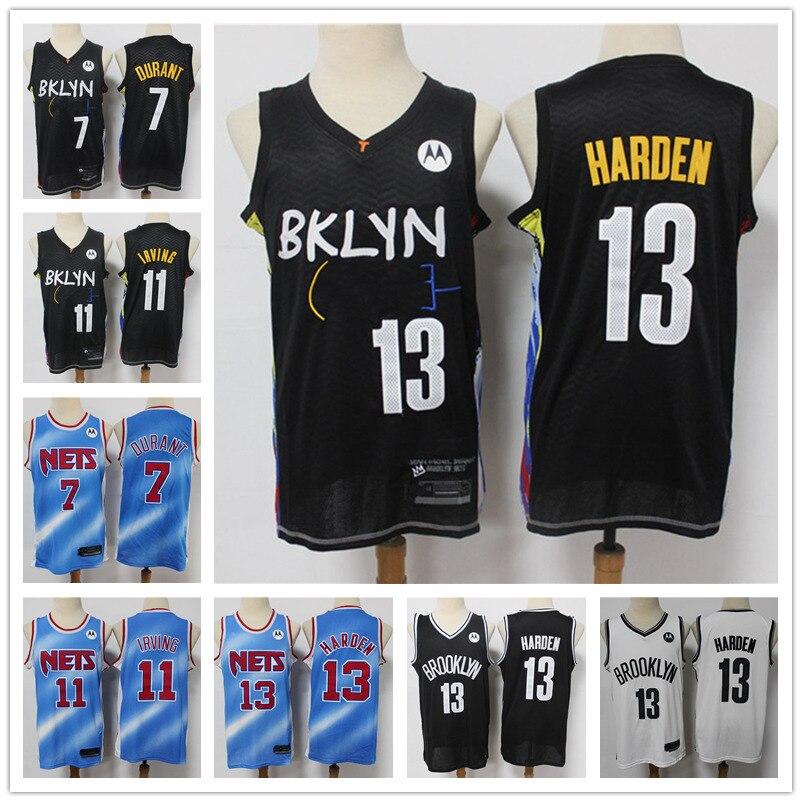 Майка мужская с вышивкой без рукавов, Джерси для баскетбола, 13 Харден Кевин 7 Дюрант, 11 Irving, XXL, 20 21