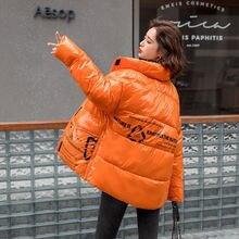 Женское оранжевое пальто пуховик с принтом в виде букв короткая