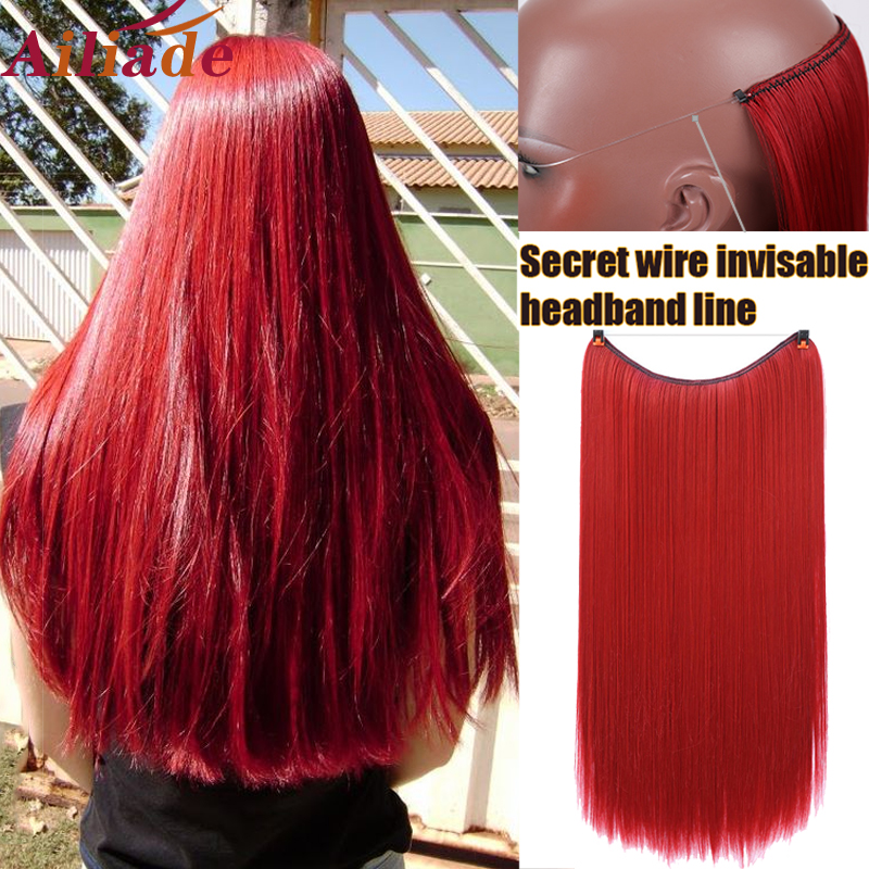 AILIADE Clip In Hair Extensions Invisible Wire Secret Fish Line Hairpieces Silky Red Long Straight 22inches Hair Accessories