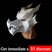 Toy Paper-Model Face-Mask Papercraft Origami Cosplay-Prop Animal Low-Poly DIY 3D Red