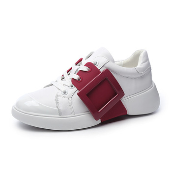Spring Autumn Genuine Leather Women's Shoes New Square Buckle Design Thick Bottom Casual White Shoes 2020 Fashion Lace Sneakers