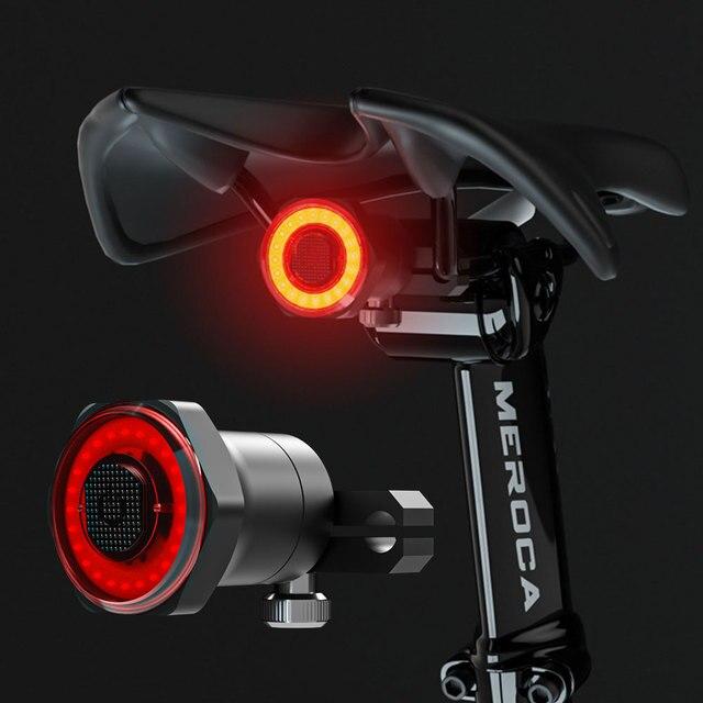 ЛМС умный задний фонарь для велосипеда с возможностью задний светильник Авто старт/стоп сигнал IPX6 Водонепроницаемый USB зарядка Велоспорт Хвост светильник велосипедные светодиодные фонари светильник s