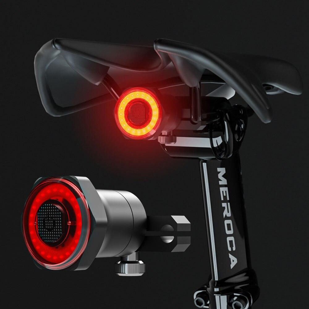 ЛМС умный задний фонарь для велосипеда с возможностью задний светильник Авто старт/стоп-сигнал IPX6 Водонепроницаемый USB зарядка Велоспорт Х...