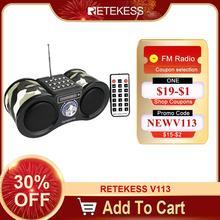 Retekess V113ラジオ受信機fmステレオポータブルトランジスタ場合サポートMp3音楽プレーヤースピーカーマイクロsdカードauxリモートF9203M