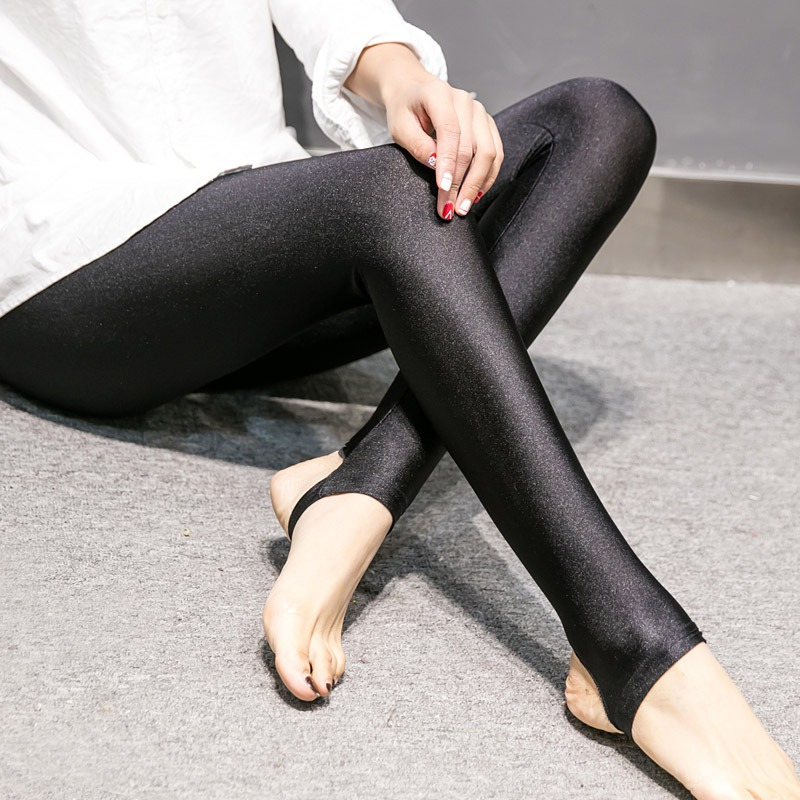 Fashion Women Shiny Leggings Thin Ankle Length Black Stretchy High Waist Satin Basic