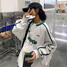 Camiseta estilo universitário outono inverno 2021 nova camisa branca dos homens dos esportes hip hop topo coreano estudante loose loose streetwear