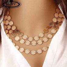 BYSPT этническое ожерелье монеты женщины листья треугольник бар круглый Чокеры себе ожерелье многослойное винтажное ювелирное изделие