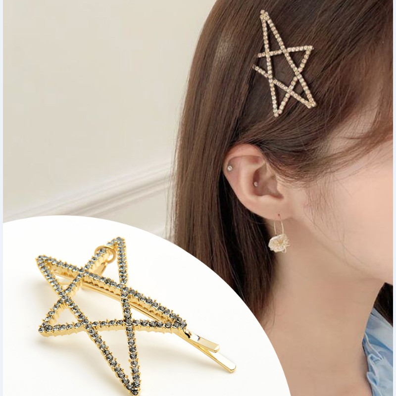 CHIMERA Pearl Star Hair Pins Simple Gold Hollow out Alloy Metal Hairgrips Crystal Barrette for Ladies Women Jewelry