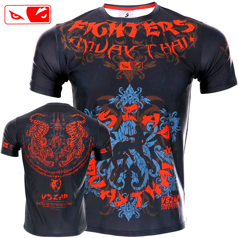 VSZAP Tight Elastic Body-building Clothes Tiger Muay Thai Boxing BJJ MMA Sanda Jerseys