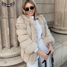 BFFUR 2020 Luxury Womens Winter Coats 천연 모피 패션 블루 폭스 모피 여성용 리얼 북극 여우 두꺼운 따뜻한 전체 피부