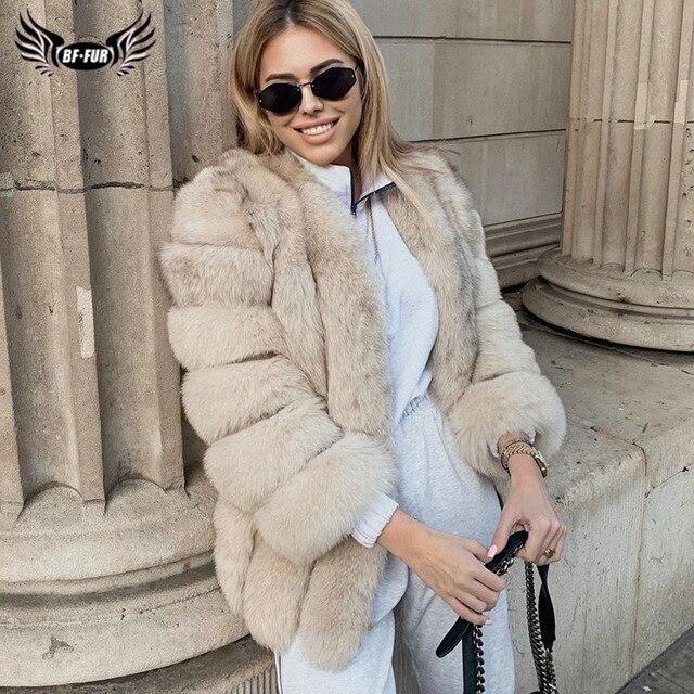 BFFUR 2020 lüks bayan kışlık mont doğal kürk moda mavi tilki kürk mantolar kadınlar için gerçek Arctic Fox kalın sıcak tüm cilt