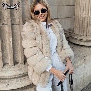 Image 1 - BFFUR 2020 роскошные женские зимние пальто с натуральным мехом, модные синие шубы с лисьим мехом для женщин, настоящая лисица, толстая, теплая, вся кожа