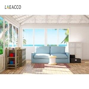 Image 5 - Laeacco סלון שיחת וידאו פנים דקור Photophone ספה חלון שטיח צילום רקע תמונה תפאורות תמונה לירות