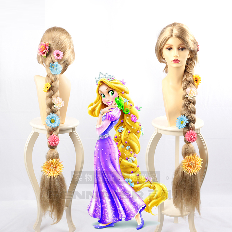 Princess Tangled Rapunzel Cosplay Wig Blonde Braid Hair Role Play Long Golden Braided Hair With Flowers For Women Halloween