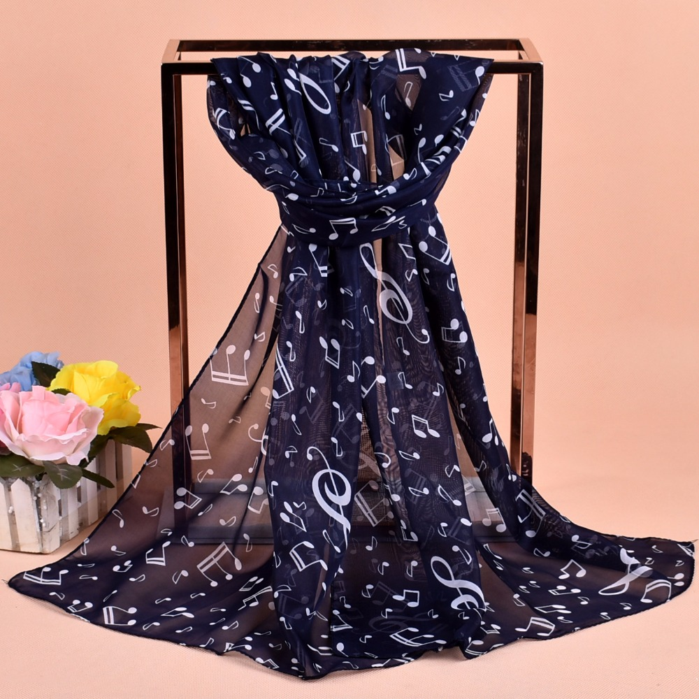 1PC Women Lady Musical Note Chiffon Neck Scarf Shawl Muffler Scarves High Quality Fabulous Elastic Beautiful Scarves