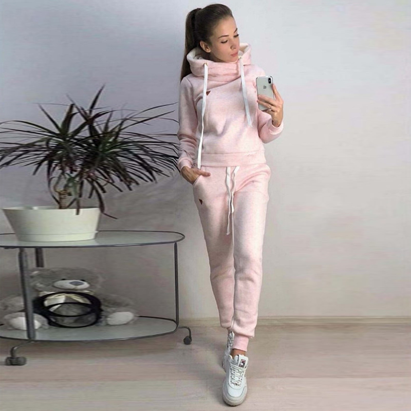 CALOFE Fashion Female Tracksuit Casual Women Long Sleeve Hoodies And Pants Two Piece Set Winter Warm Solid Outfits Women Suit