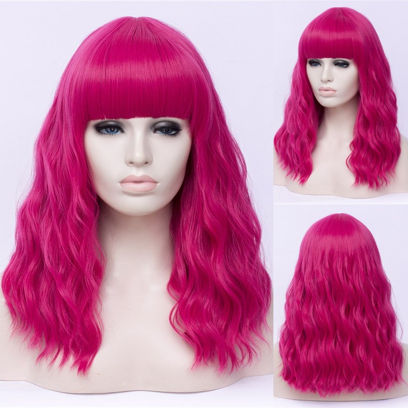 GAKA Long Synthetic Hair Wigs for Women Cosplay Wigs with Cut Bang Heat Resistant Pink Rainbow Ombre