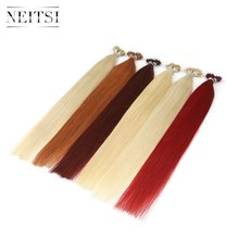 "Neitsi Micro Beads None Remy Nano Ring Links Human Hair Extensions 20"" 1.0g/s 50g 100g Blonde Black Natural Straight 20 Colors(China)"