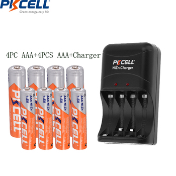 4PCS 1.6V NI-ZN AAA battery +4pcs AA rechargeable batteries packed with NIZN Battery charger for AA/AAA NI*-ZN battery PKCELL new arrival 4pcs pkcell 1 2v aa ni mh 2600mah lsd rechargeable batteries bateria pre charged batteries set with 1200 cycle