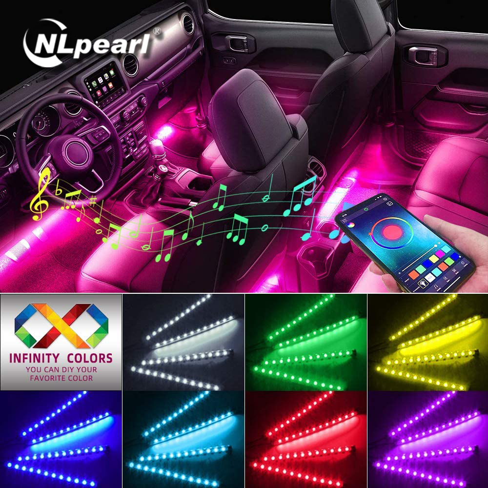 NLpearl APP Car Interior Ambient Light Neon LED Strip Foot Light with USB Wireless Remote Music Auto Atmosphere Decorative Lamp 1