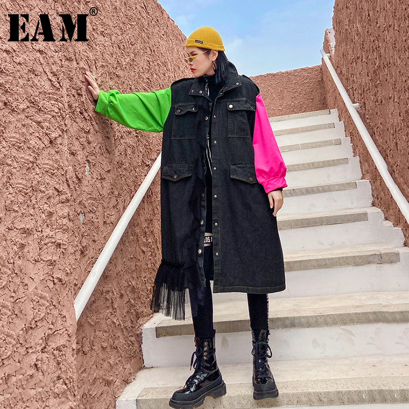 [EAM] Women Black Contrat Color Denim Big Size Trench New Lapel Long Sleeve Loose Fit Windbreaker Fashion Tide Spring 2020 1R433