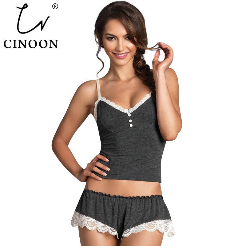 CINOON Sexy Pijamas Camisole & Panties Sets V-Neck Cotton Bundle Pajamas Women's Sleepwear Spaghetti Strap Lace Underwear