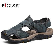 Large Size Genuine Leather Men Sandals Classic Men Beach Sandals Summer Shoes for Beach Outdoor Sandals Walking shoes male