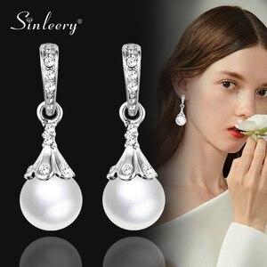 Sinleery elegante 10mm blanco gris perla gota pendientes para mujer novia Color plata joyería pendiente boda ES754 SSH