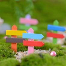5pc/set Retro Style 5CM Height Fairy Garden Micro Landscape Table Decor Mini Wooden Fence Decoration Figurines & Miniatures