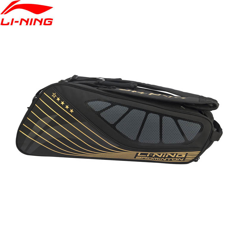 Li-Ning Badminton Racket Bag For 6-pack Shoe Pocket Professional Sports Athletic Racquet Bag ABJP076 ZYF348