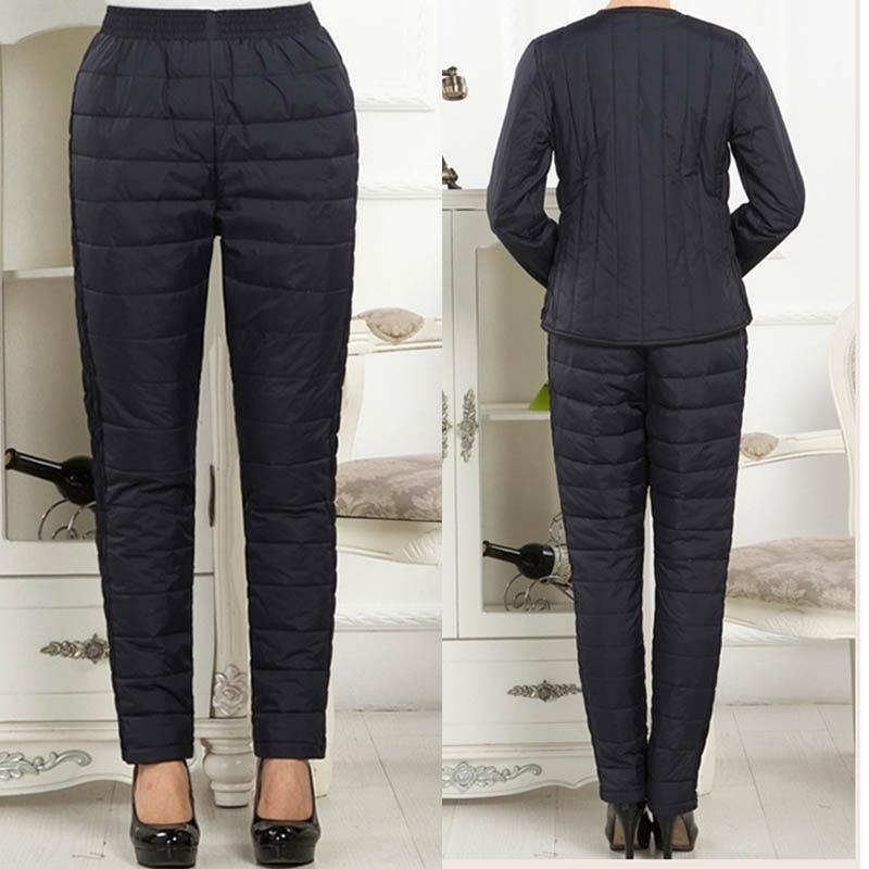 Women Winter Pants Duck Down Ultralight Outdoor Windproof Thicken Trousers L~4XL