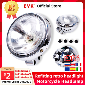 цена на CVK Motorcycle Universal DC 12V Headlight Headlamp For Harley 883 HONDA Steed VLX 400 Shadow 600 Magna 250 Chrome Running Light