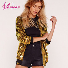 купить Fashion Women Sequins Coat Bomber Jacket Long Sleeve Zipper Streetwear Casual Loose Glitter Outerwear Female 2019 Autumn Coats дешево