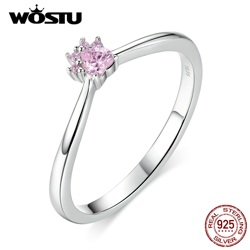 WOSTU 100% Real 925 Sterling Silver Pink Pet Claw Rings For Women Making Fashion Jewelry Wedding Party Jewelry Gift CQR628