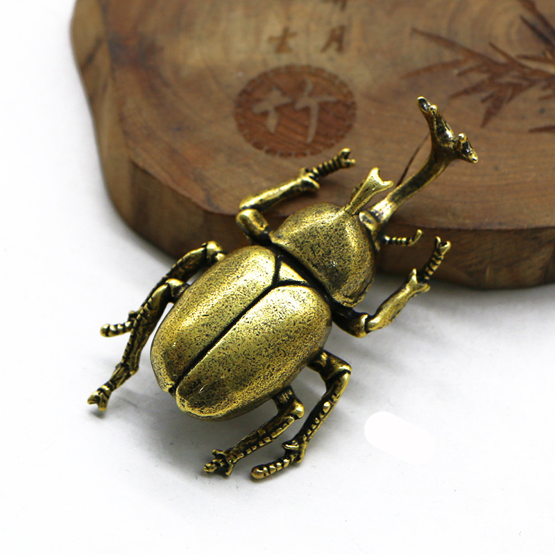 Antique Bronze Beetles Miniature Figurine Small Desk Decorations Vintage Copper Insect Tea Pets Ornament Home Decor