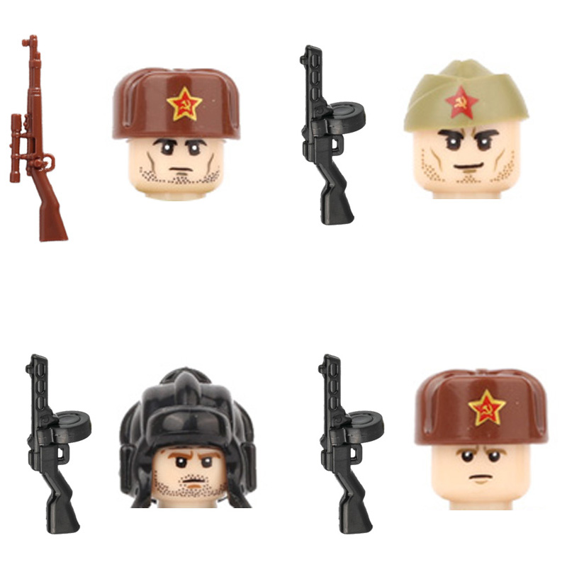 WW2 Soviet Union Military Army Soldiers Figures Building Blocks Russia Infantry Weapons Guns Parts Mini Bricks Toy For Children