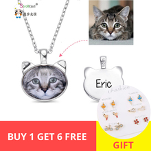 StrollGirl Personalized Custom Photo Cat Head Necklaces Pet Memorial Jewelry 925 Sterling Silver Animal Necklace Free shipping