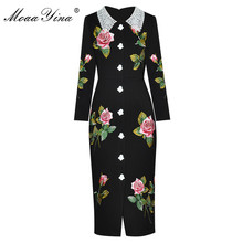 MoaaYina Fashion dress Spring Women Dress Angel Buttons Rose Embroidery Hot drilling Black Slim Noble Elegant Gorgeous Dresses