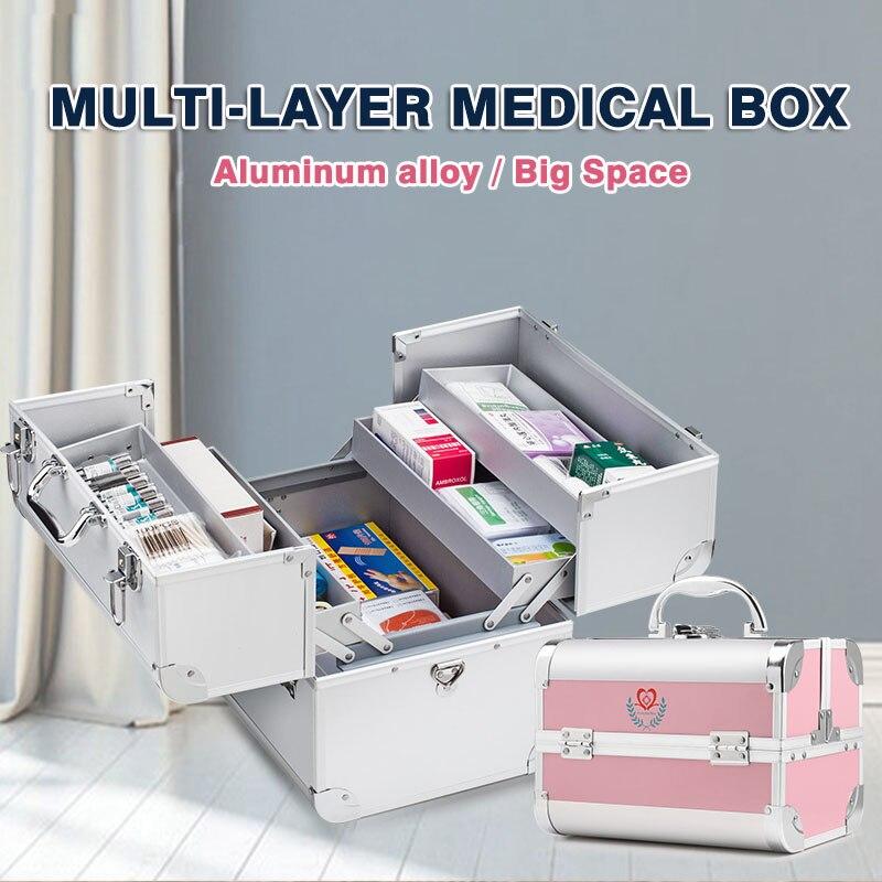 Caixa de medicina vazia kit de primeiros socorros em casa portátil multifuncional organizador ambulatório multi-camada caixas de armazenamento de alumínio caixa médica