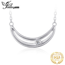 JewelryPalace Smile CZ Sterling Silver Pendant Necklace 925 Sterling Silver Chain Choker Statement Collar Necklace Women 45cm